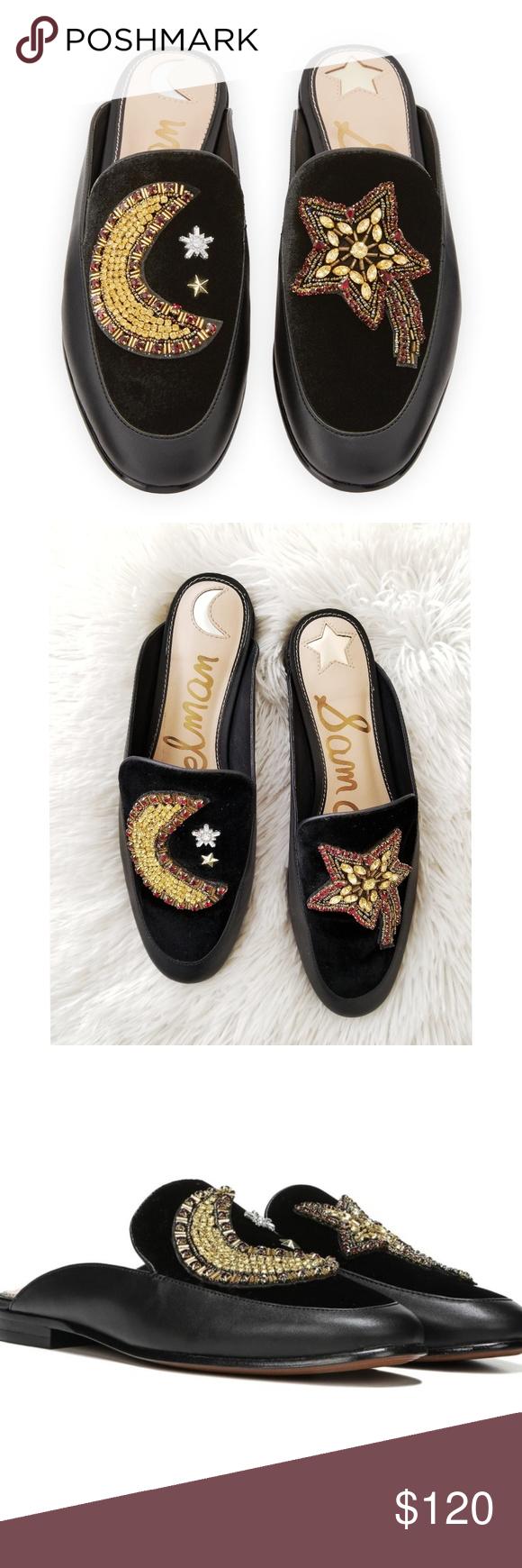 ba1982c91 Sam Edelman Pemberly Velvet Loafer Moon and Stars Size 7.5 Sam Edelman black  leather and velvet