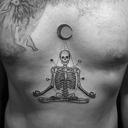 SUPERB chest TATTOO of a skeleton sitting under a moon in ...