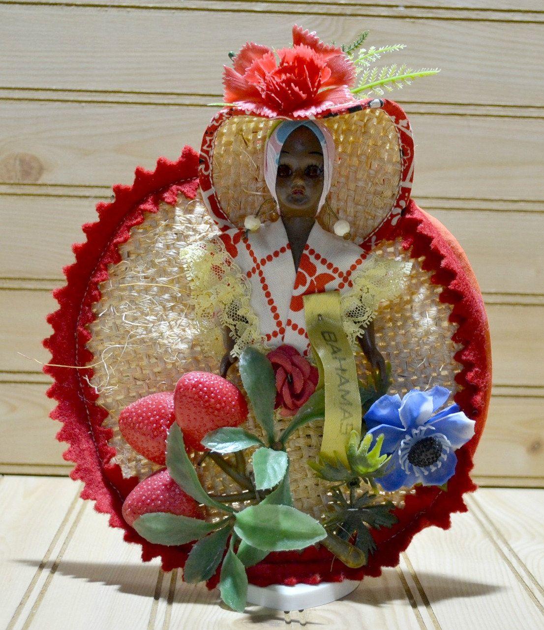 Vintage Bahamas Souvenir Doll Island Girl 1970s Collectible Memorabilia Knick Knack Sleepy Eyes Plastic Fruit #knickknack