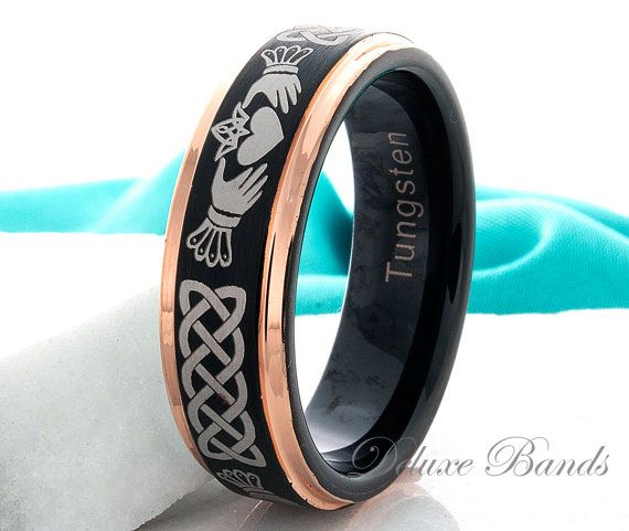 Claddagh Ring Tungsten Wedding Ring 7mm Black Rose by DeluxeBands