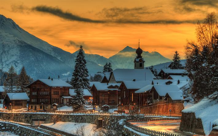 Download Wallpapers Switzerland 4k Sunset Mountains Winter Europe Besthqwallpapers Com Coucher De Soleil Montagnes Suisse
