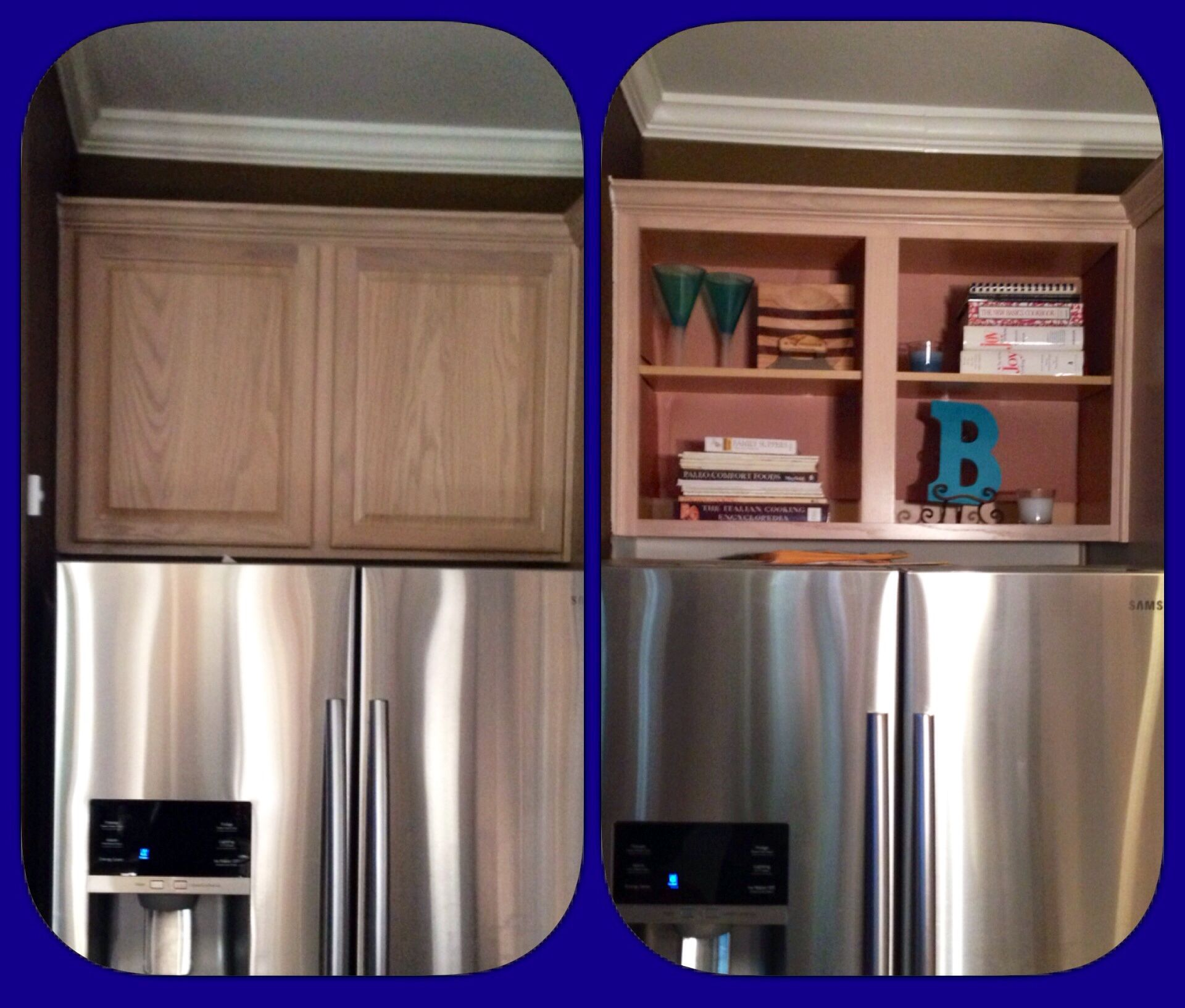 Convert cupboards above refrigerator to bookshelf for ...