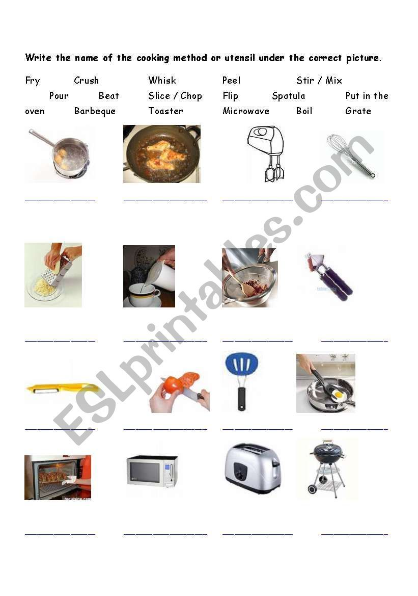 Photo of Cooking Vocabulary – ESL worksheet by xcelair8