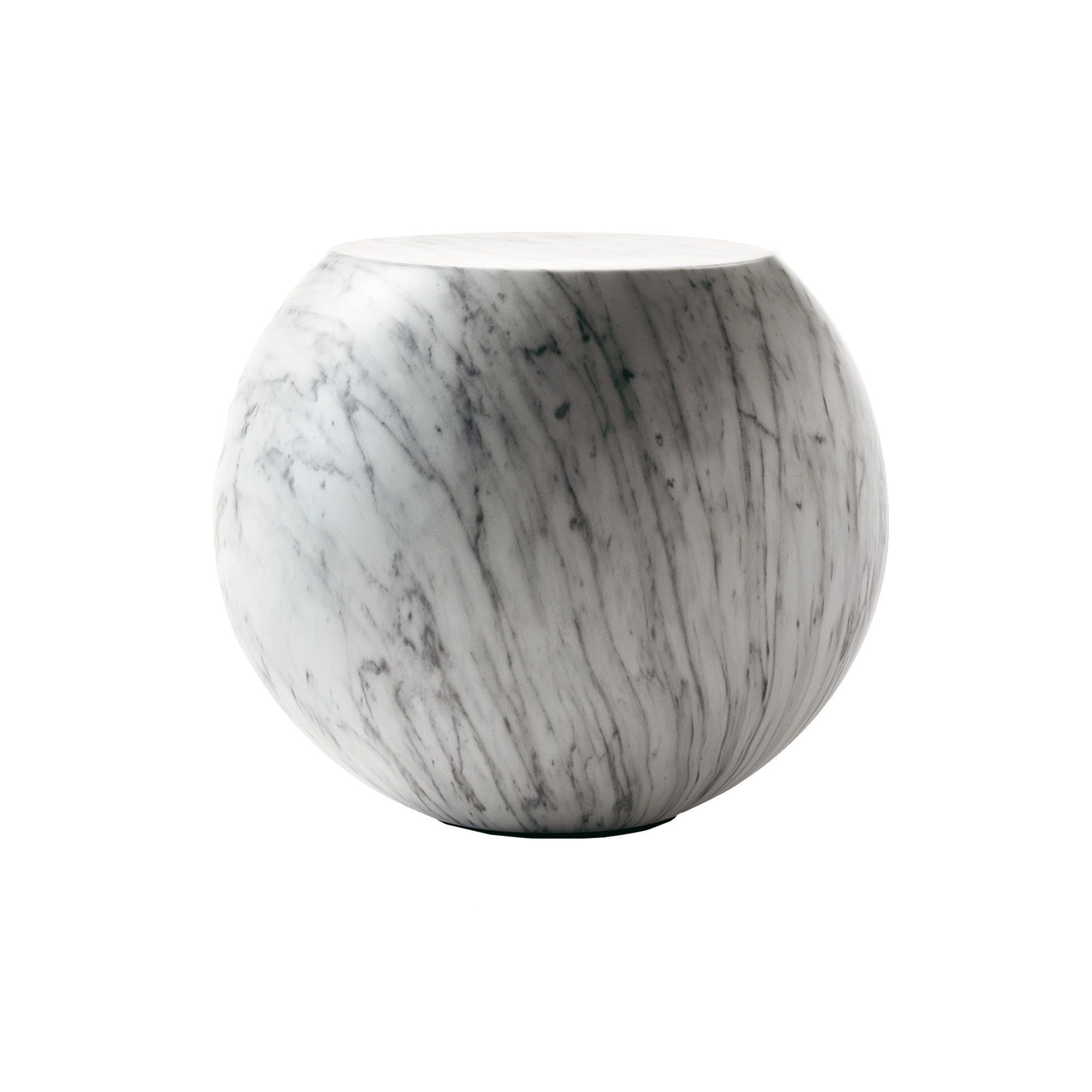 Bong coffee table in faux carrara marble round marble