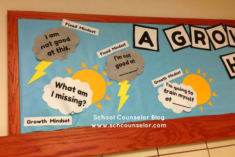 School Counselor Blog: A Growth Mindset Can Help You Thrive! Bulletin Board