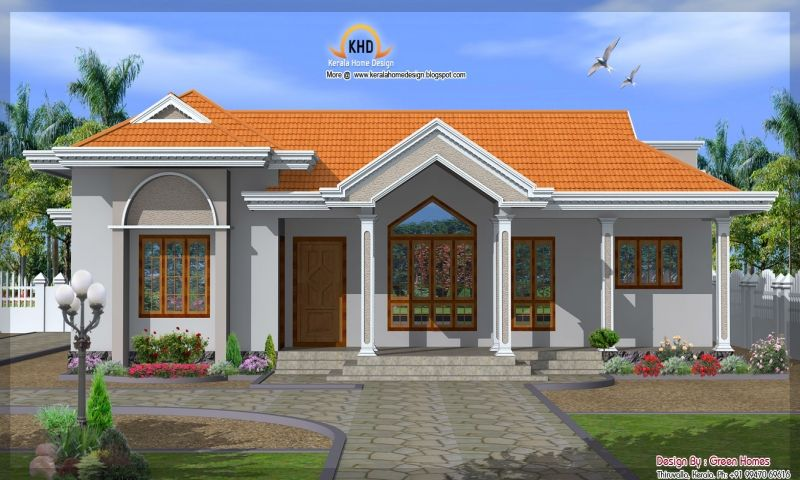 One Story Vintage Modern Cottage Front Elevation Single Story House Single Floor House El Kerala House Design Single Floor House Design Beautiful House Plans