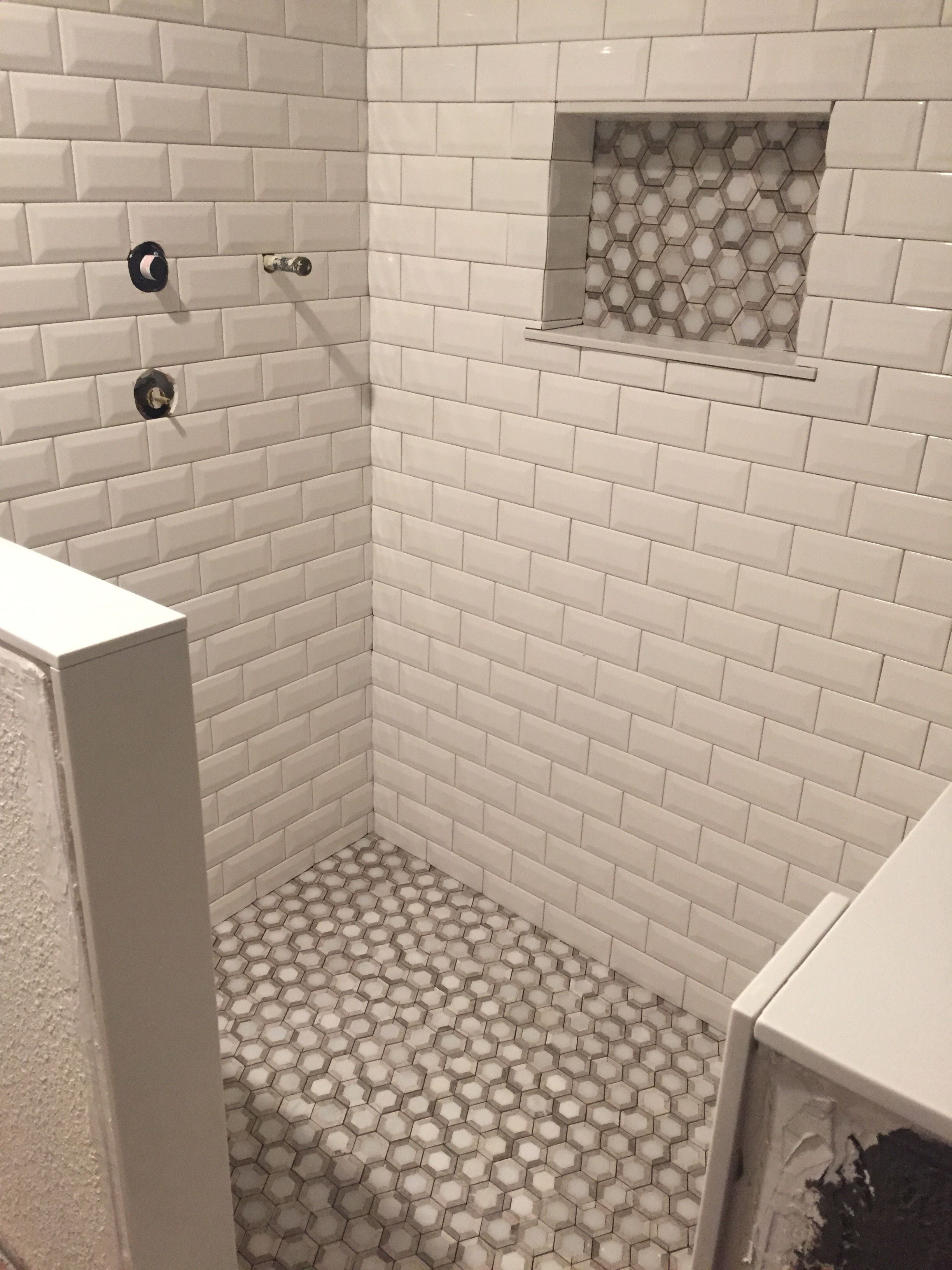 Shower Tile Install- White beveled subway tiles, MIR Mosaic Marbella ...