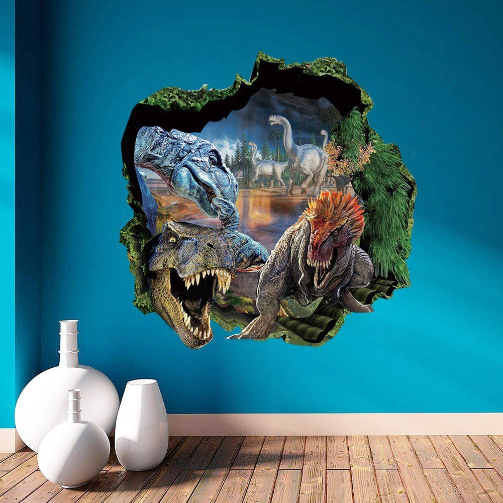 top me 3d dinosaurs through the wall stickers jurassic park home top me 3d dinosaurs through the wall stickers jurassic park home decoration diy cartoon kids