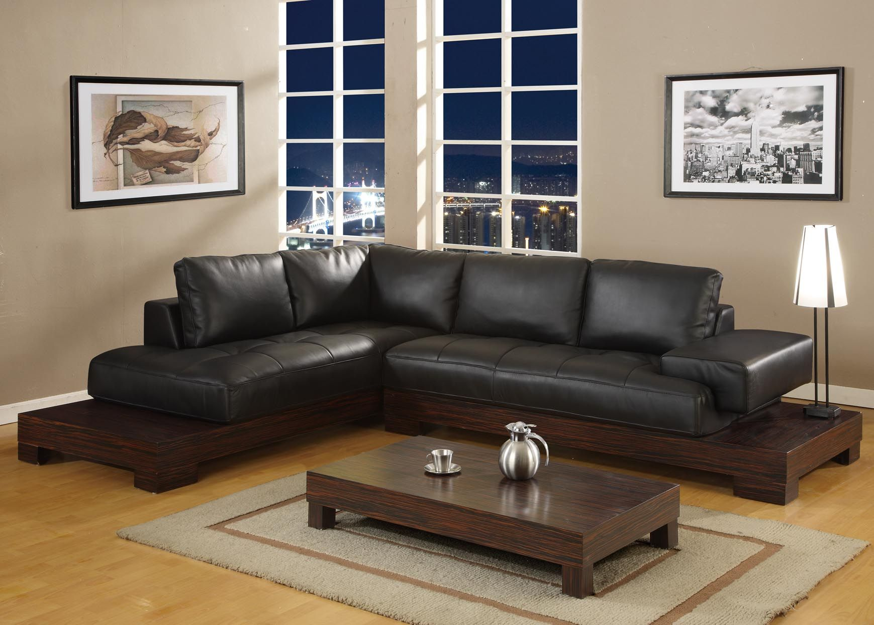 with minimalist black cushions couch splendid leather shaped sectional of l furniture