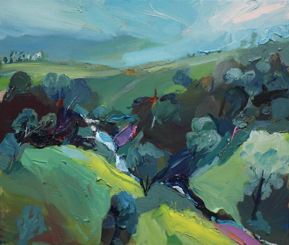 Hidden Gully Mountain Curves And The Horizon Perspective Creates Something New And Amazing Emergingartist Art Painting Art Abstract Landscape Painting