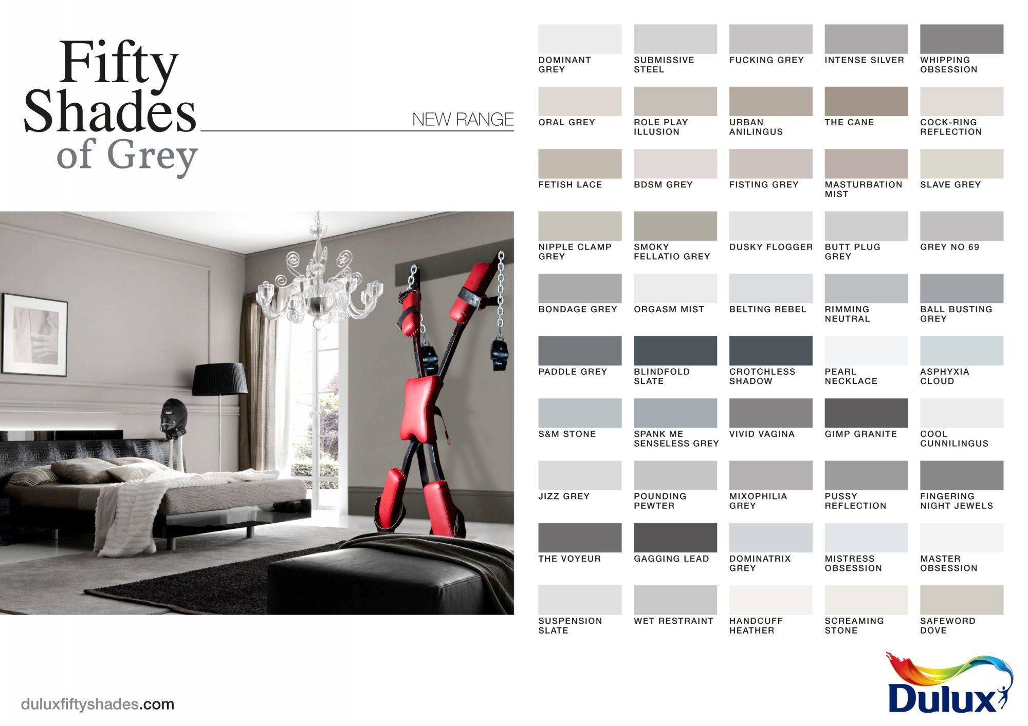 dulux shades of grey skiddaddle shades of grey still advertising their fifty shades of grey paints but adding a bit of kink from the books by adding the bondage equipment to give it the hilarity and