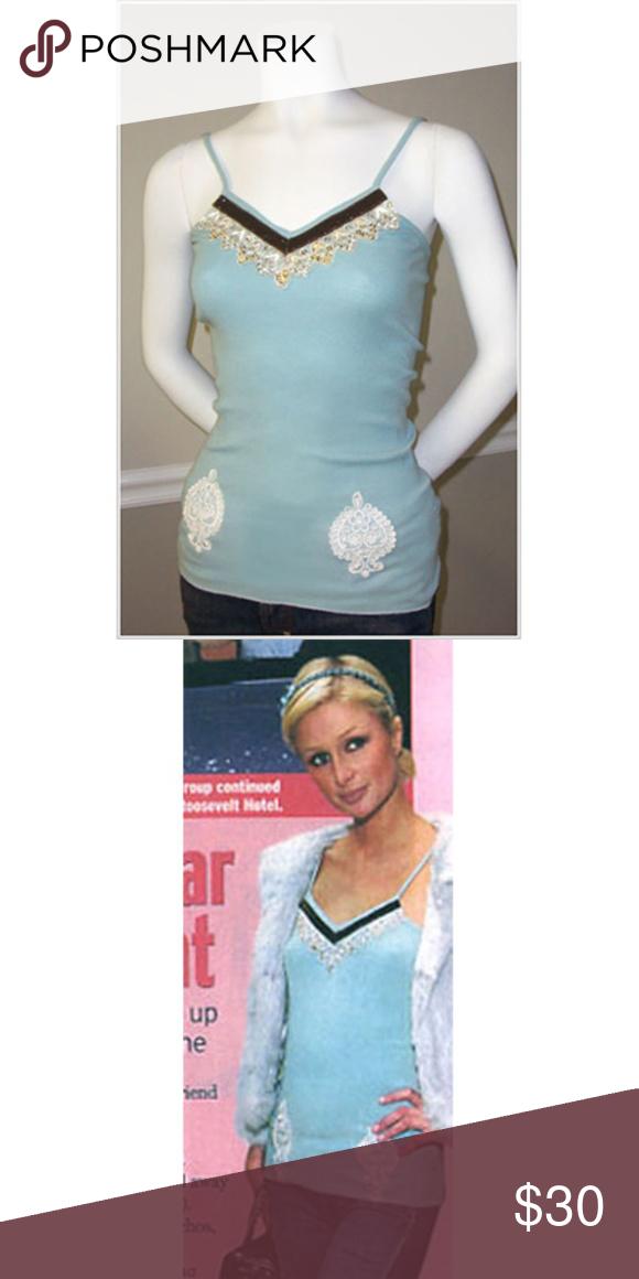 JET Lace Trim Tank As seen on Paris Hilton • Material 100