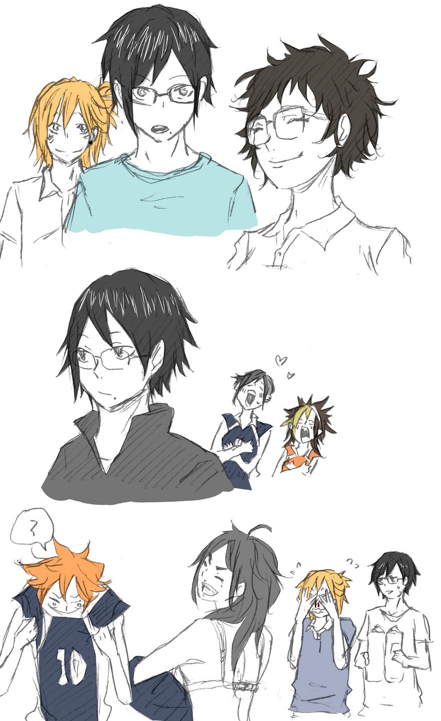 anime Fanart Sketch doodle genderbend genderswap tsukishima