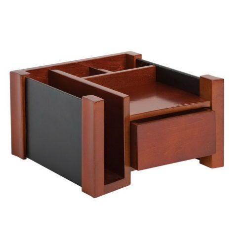 New Wood Leather Office Desk Organizer Paper File Sorter Pen Card Storage Drawer
