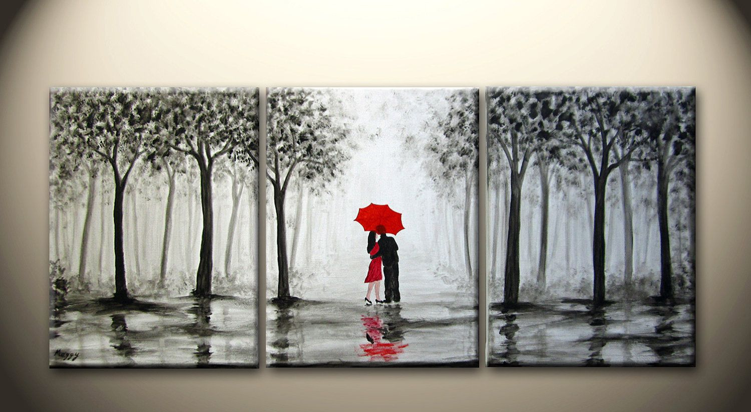 Wedding Gift Paintings: Large Original Abstract Painting, Kissing In The Rain,love
