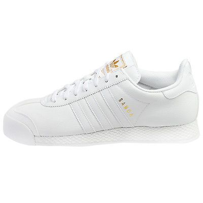Adidas Samoa Mens F37599 White Leather Gold Athletic Shoes Sneakers Size 8