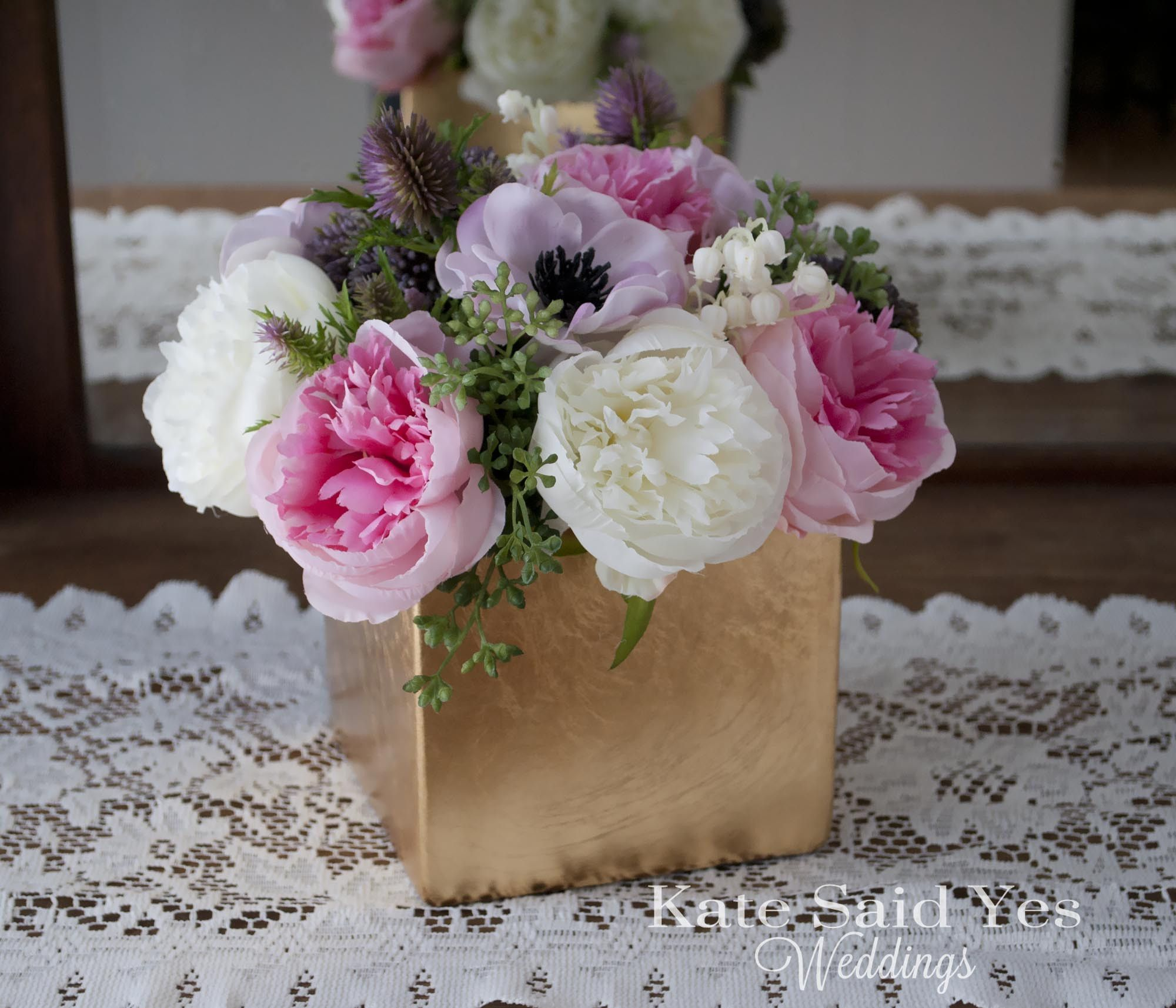 Pink and maroon wedding decor  Wedding Centerpiece  Peony and Anemone Ivory Pink and Lavender