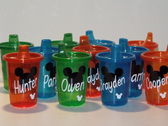 Personalized Mickey Mouse Or Minnie Mouse Sippy Cups Spill Proof