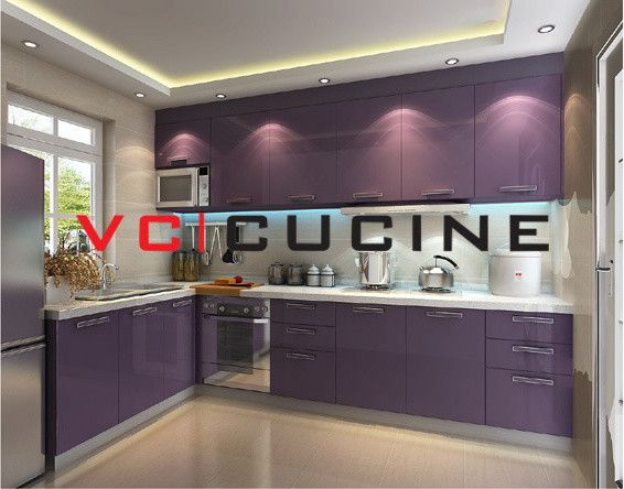 Best Small L Shaped Kitchen Shape Pvc Purple Cabinet For 400 x 300