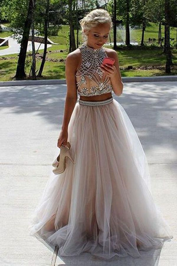 Long Prom Dresses, Sleeveless Evening Dress, High Neck Prom Dresses, Evening Dre... 5