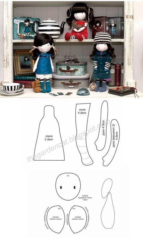 Molde muñeca trapo Gorjuss. | muñecas | Pinterest | Trapillo, Molde ...