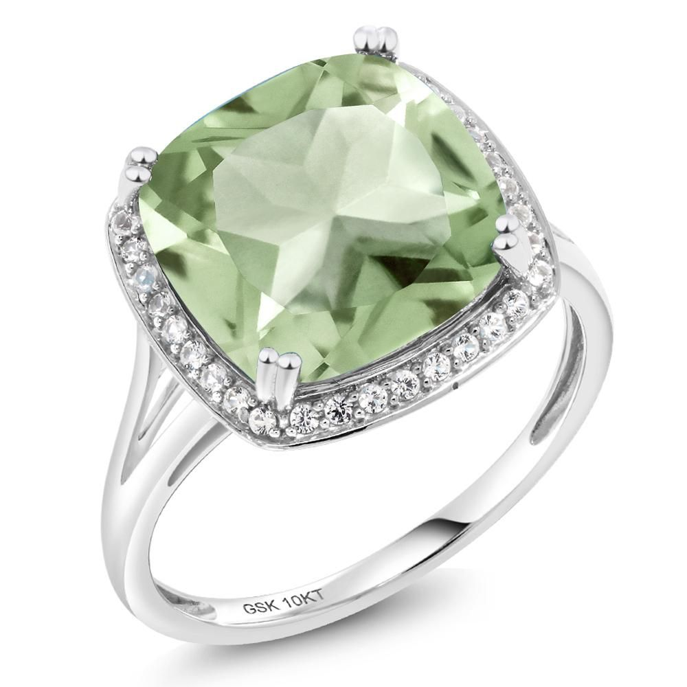 6.74 Ct Cushion Purple Amethyst White Diamond 10K Yellow Gold Ring