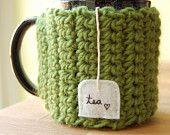 Tea Love Mug Cozy Crochet Fern Green Cup Cosy