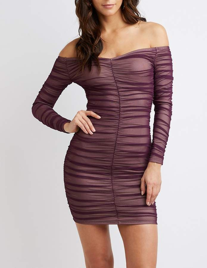 bd29faa03b0a Charlotte Russe Off-The-Shoulder Ruched Bodycon Dress