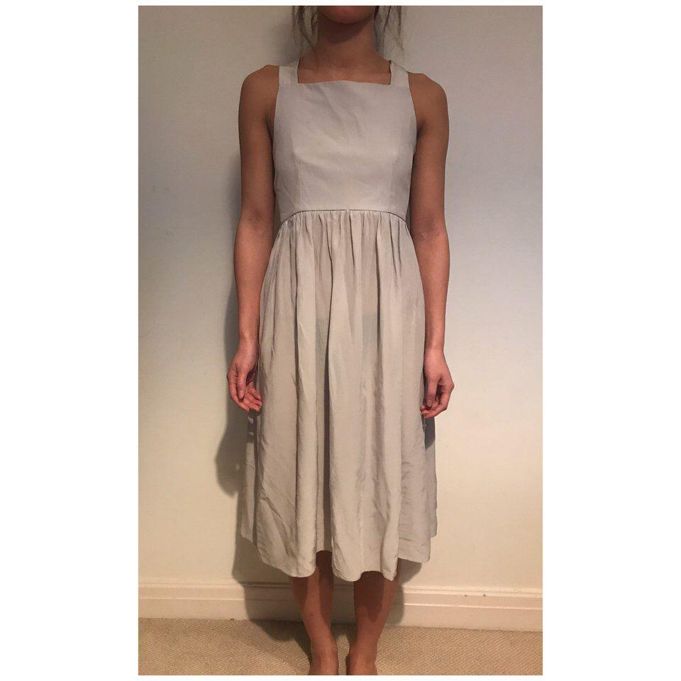be07b33ef Listed on Depop by mamamamelissa | Summer | Grey midi dress, Silk ...