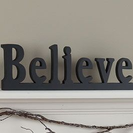 Words Of Truth Believe Handcrafted Black Wooden Word