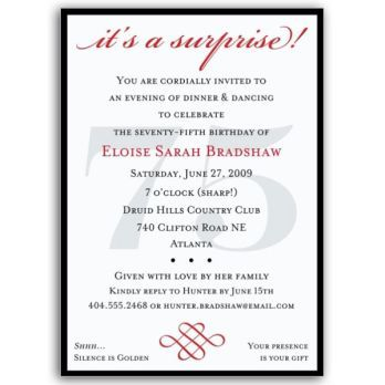 Classic 75th Birthday Red Surprise Invitations PaperStyle party