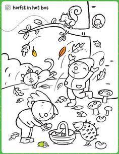 Kleurplaten Van Herfst.Kleurplaat Herfst In Het Bos Puk En Ko Host