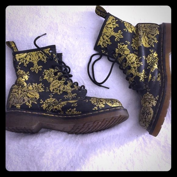 1460 Glitter Flocking Black Gold Doc Martens Worn, but pretty good condition, no serious visible damage. Super cute and hard to find. Doc Marten Shoes Combat & Moto Boots