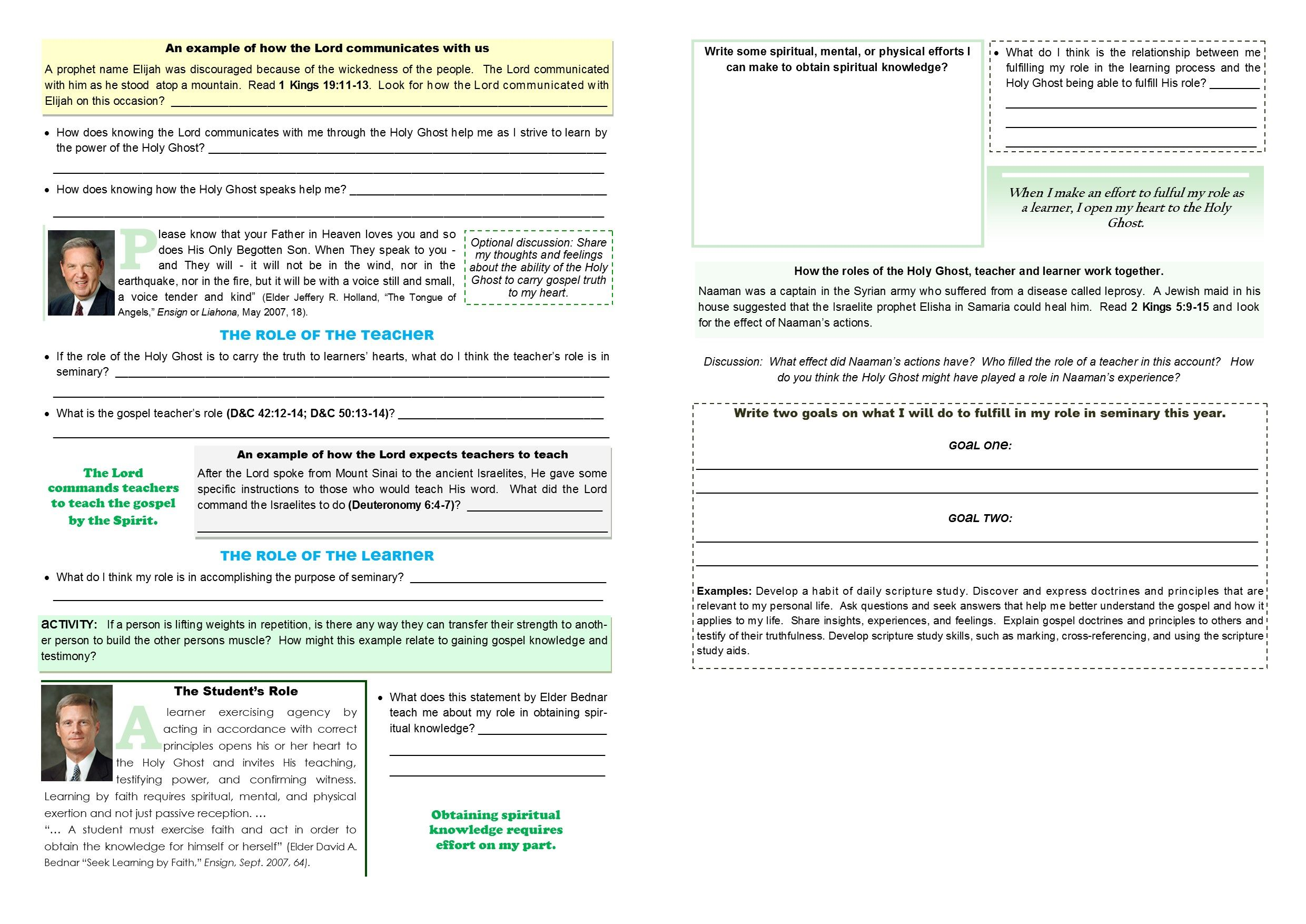 Old Testament Seminary Lesson 3 Worksheet Pages 2 3