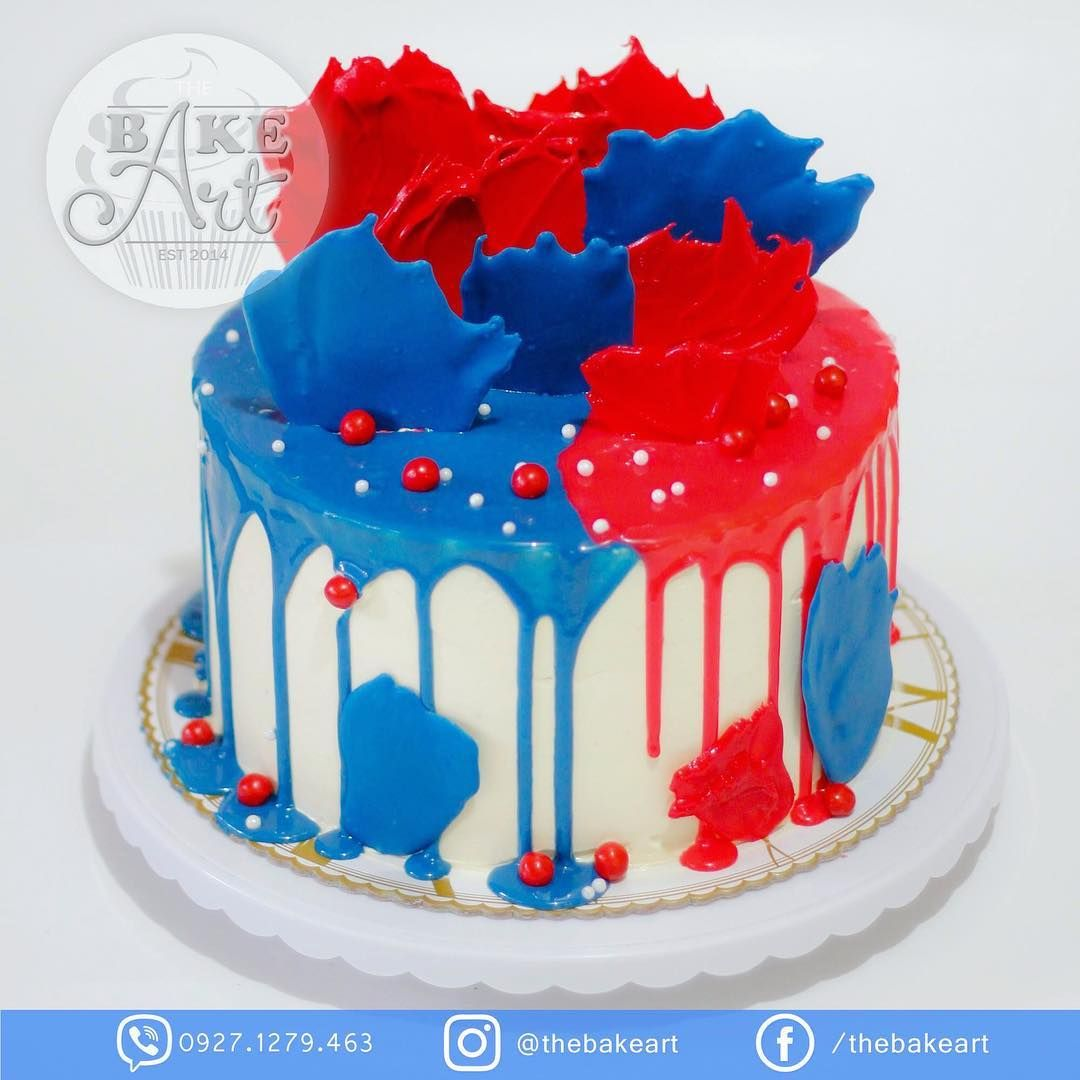 Blue And Red Drip Cake Dripcake Cakes Cakesph