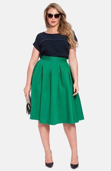 9cca218704587 ELOQUII Full Midi Skirt (Plus Size)