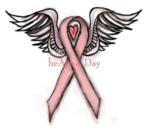 Heart 161 Pink Ribbon Angel Heart Drawing Pink Ribbons Tatt And