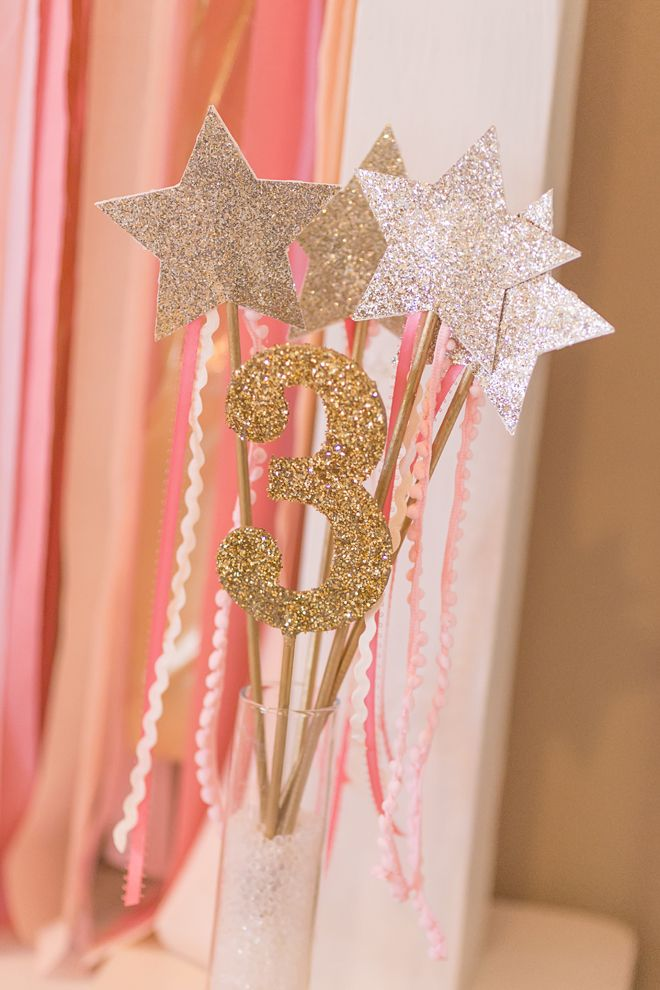 Sparkly Wands At A Pink And Gold Princess Birthday Party