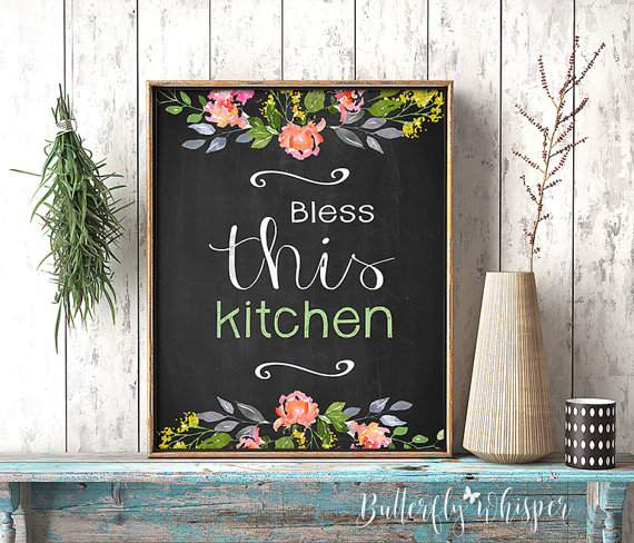 Bless This Kitchen Art Rustic Shabby Chic Kitchen Quote Decor Home Decor Watercolor Flower Art Framed Q Watercolor Flower Art Wall Art Quotes Framed Flower Art