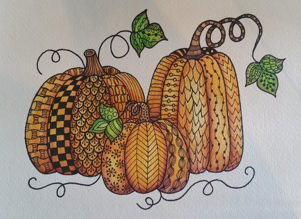 Easy pumpkin zentangle watercolor live painting and Easy pumpkin painting patterns
