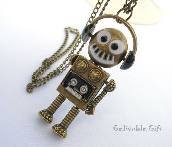Steampunk music robot necklacewith flexible by Gelivablegift, $4.59 #robot #gifts