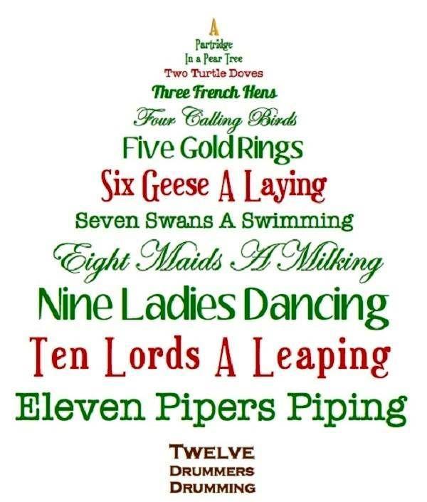 Christmas Tree Shaped 12 Days of Christmas Lyrics Printable for Kids - Christmas Tree Shaped 12 Days Of Christmas Lyrics Printable For Kids