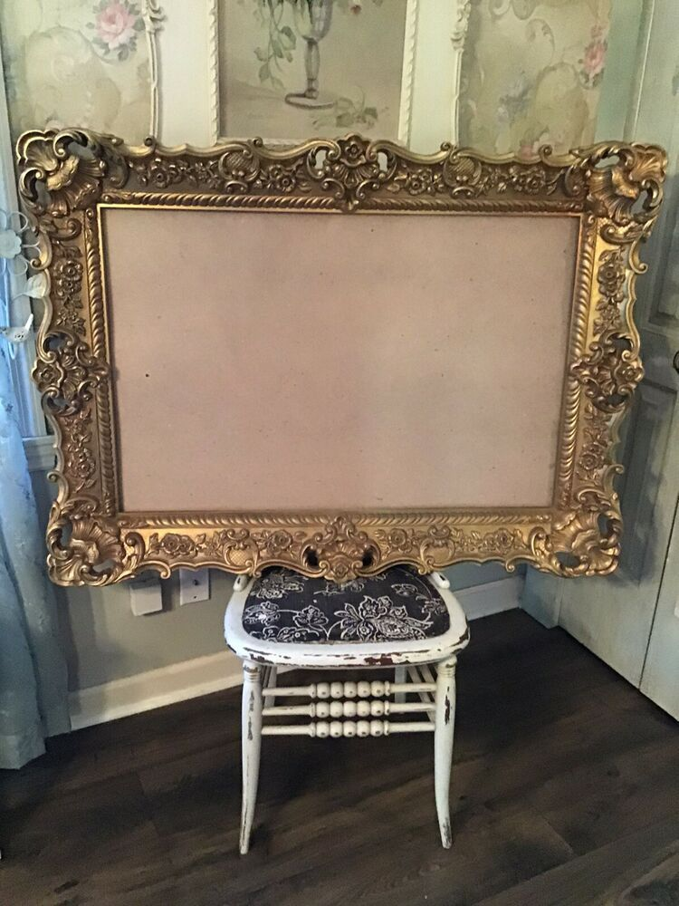 Large Beautiful Vintage Gold Ornate Picture Frame Resin Syroco Type 32 X 44 Frenchcou In 2020 Gold Ornate Picture Frames Ornate Picture Frames Gold Picture Frames