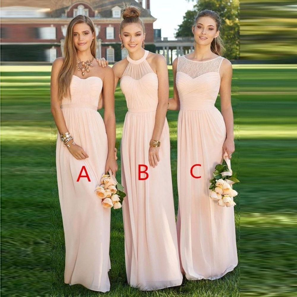 Womenus blush light pink bridesmaid dress vestido de la dama de
