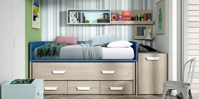 Esta composición de cama nido con cajones está disponible en ...