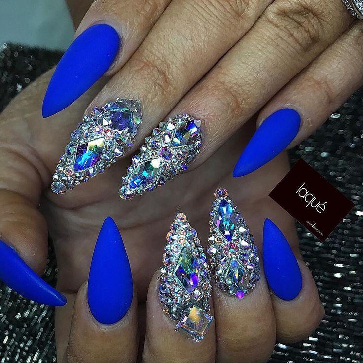 Custom matte cobalt blue crystal stiletto nails | Nails | Pinterest ...