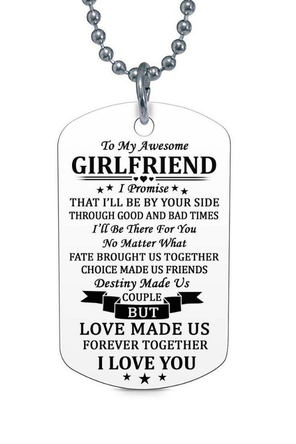 To My Awesome Girlfriend I Love You Dog Tag Necklace Birthday