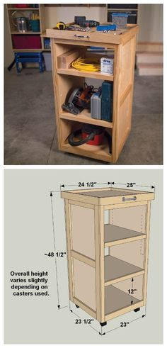 DIY Rolling Tool Cart :: Find the FREE PLANS for this