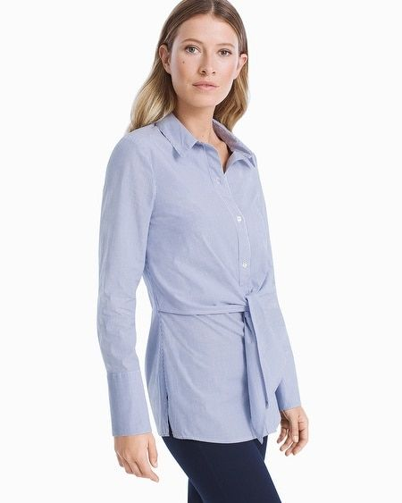 da651722 Women's Stripe Poplin Tie-Front Shirt by White House Black Market ...