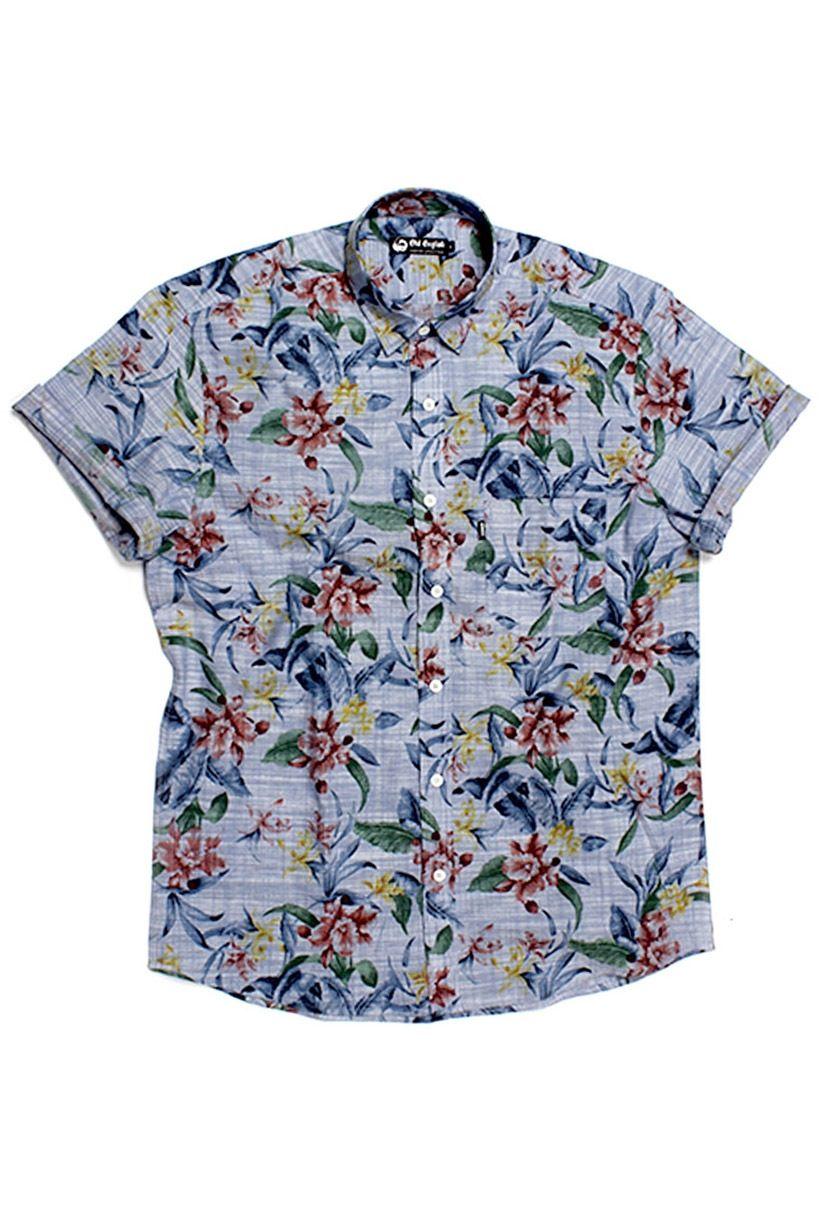 Camisa Florida masculina manga curta Azul  d49b2806c3324